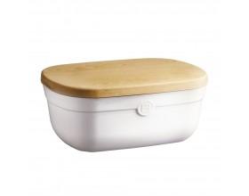 """EMILE HENRY Керамична кутия за хляб с дъска за рязане """"BREAD BOX"""" - цвят бял"""