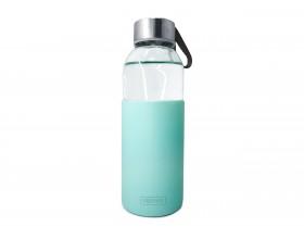 Nerthus Стъклена бутилка със силиконов протектор - 400 мл. - зелена