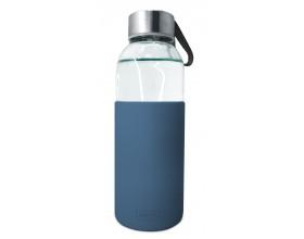 Nerthus Стъклена бутилка със силиконов протектор - 400 мл. - синя