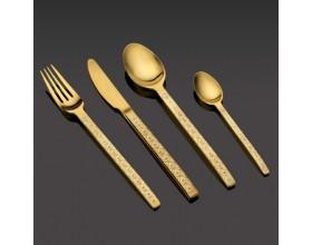 """HERDMAR Комплект прибори за хранене """"SPIGA № 7 """"- 24 части - старо злато,гравиран"""