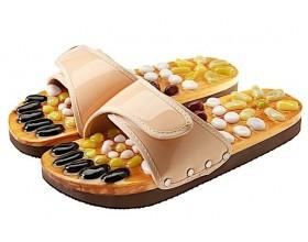 CASADA Масажни чехли за рефлексотерапия с естествени камъни - бежов цвят - размер S / № 35 - 36