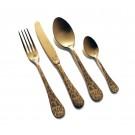 """HERDMAR Комплект прибори за хранене """"ROCCO № 8"""" - 24 части - старо злато, гравиран"""