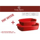 """EMILE HENRY Комплект от 2 броя керамични форми за печене """"RECTANGULAR OVEN DISH """"- цвят червен"""