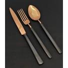 """HERDMAR Комплект прибори за хранене """"VINTAGE""""- 36 части - медни с черна дръжка - PVD покритие / гланц"""