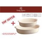 """EMILE HENRY Комплект от 2 броя керамични форми за печене """"OVAL OVEN DISH """" -цвят екрю"""