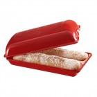 """EMILE HENRY Керамична форма за печене на хляб/чабата """"CIABATTA BAKER"""" - 39 х 23см - цвят червен"""