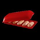 """EMILE HENRY Керамична форма за печене на мини багети """"MINI - BAGUETTE BAKER"""" - цвят червен"""