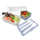 Nerthus Комплект херметически кутии за храна с прибори - 2 х 500 мл. - цвят син/бял