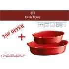 """EMILE HENRY Комплект от 2 броя керамични форми за печене """"OVAL OVEN DISH """" -цвят червен"""